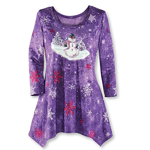 Let it Snow Purple Holiday Top w/Sparkling Snowflakes