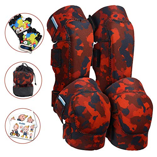 (Innovative Soft Kids Knee and Elbow Pads with Bike Gloves | Toddler Protective Gear Set w/Mesh Bag | Roller-Skating, Skateboard, Bike for Children Boys Girls (Fire Camo, Large (8-11 Years)))