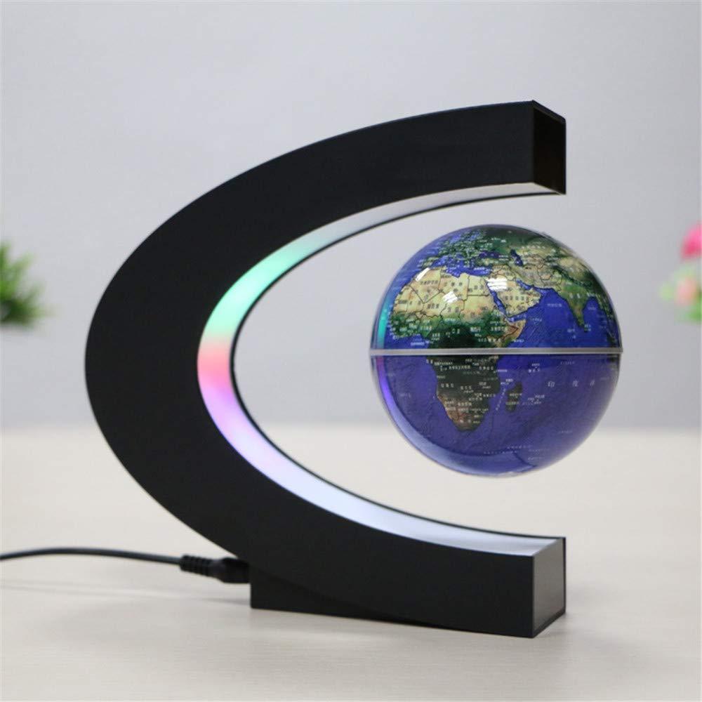Blau Pädagogischer Schwenkerkugel Swivel Globe Map Globe Magnetschwebebahn Schwimm Weltkarte Globe Mit Led-leuchten Für Lernen Bildung Lehre Oder Schreibtisch Dekoration (C Form + Globe) Für Heim- und Büro