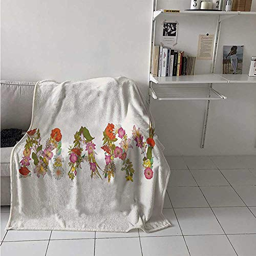 Mary Digital Printing Blanket Blossoming Flowers with Daisies Roses and Poppies Traditional Well Known Girl Name Summer Quilt Comforter 62x60 Inch - Poppy Syracuse