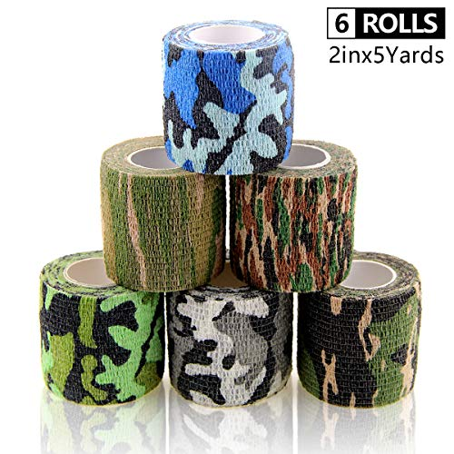 AUPCON Self Adhesive Bandage Wrap Vet Wrap Cohesive Bandages Bulk Dogs Self Adherent Wrap Non-Woven for Pet Animals & Ankle Sprains & Swelling Supply FDA Approved 6 Rolls 2 Inch Camouflage