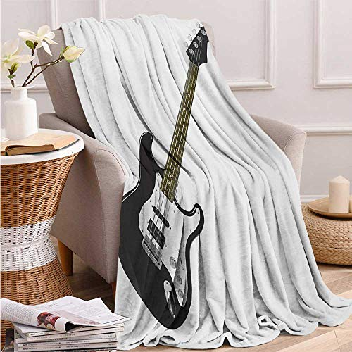 Guitar, Throw Blanket Teen Girl, Bass Four String Rhythm Music Rock and Roll Element Detailed Illustration, Soft Throw Blanket, 90x70 Inch Black White Caramel (String Guitar Bass Quilt Top)