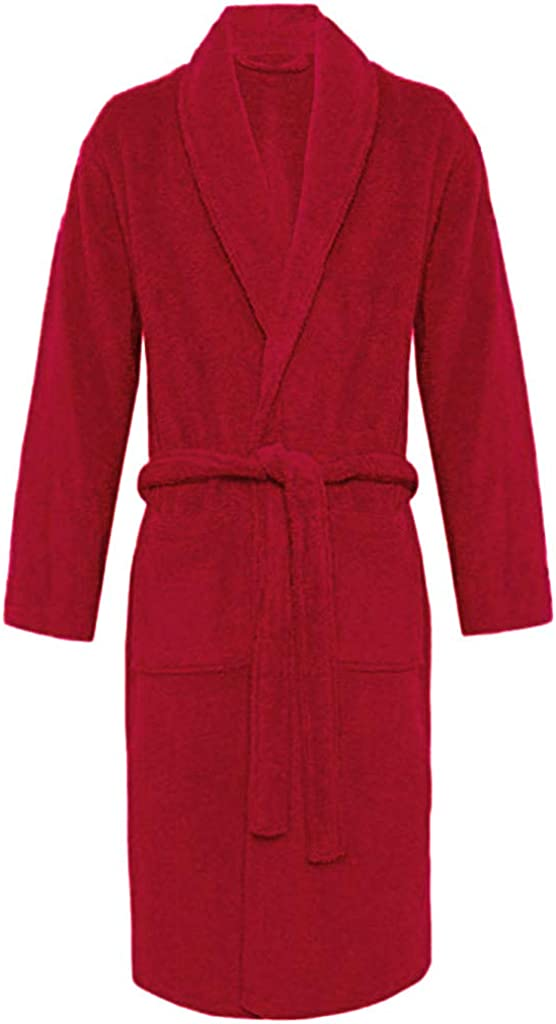GREFER Womens Lapel Robes Plush Shawl Comfy Soft Warm Home Clothes with Pocket