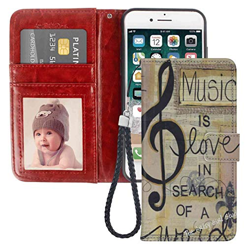 - Wallet Case Fit for Apple iPhone 6 | iPhone 6S 4.7 Version Music is Love in Search of A Word Leather