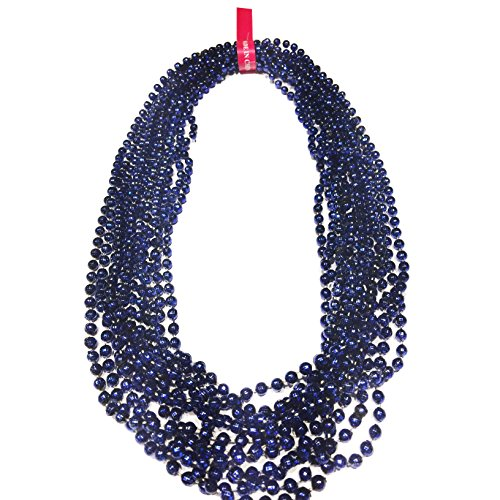Elite Choice Navy Blue Beaded Necklaces - 12 Party Necklaces per Pack - Ideal for Sporting Events, Parties, Tailgating and Parades (Navy Blue Bead Necklace)