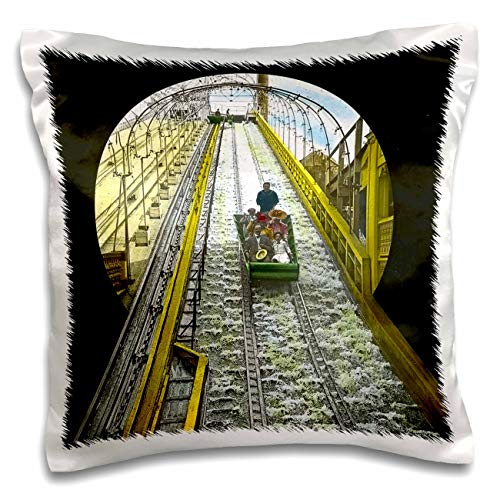 3dRose Scenes from The Past - Magic Lantern - 1905 Shooting The Chutes at Luna Park Coney Island Brooklyn New York - 16x16 inch Pillow Case (pc_300347_1) Coney Island Brooklyn New York