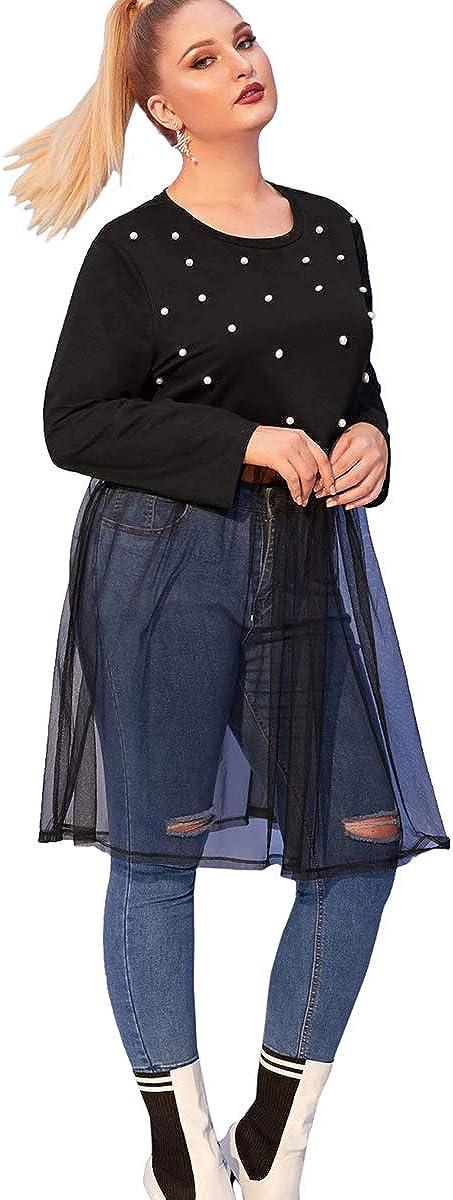 ROMWE Womens Plus Size Pearls Mesh Hem Long Sleeve Longline Solid Sweatshirt Pullover Crop Top