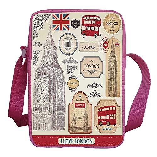 London Stylish Kids Crossbody Bag,Conventional British Characteristics Big Ben Red Bus Tower and Bridge Banner for Girls,9
