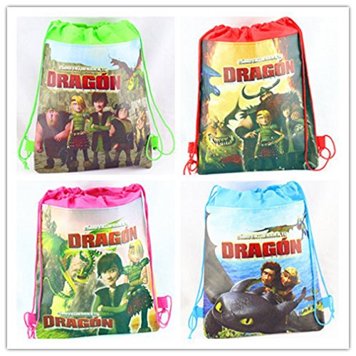 Price comparison product image Cute Characters Drawstring Backpack School Bags Shopping Bag ,Party Favor-set of 4 (Medium, Dragon)