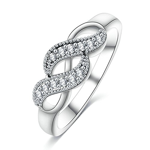 KnSam Rings for Women Wedding Ring Silver Plated Base Double Row Of A Coiled Wound Silver Size (Double Row Engraved Band)