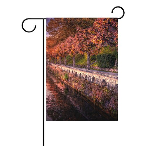 Vipsk Red Roadside Painting Long Polyester Garden Flag Banner 12 x 18 inch for Wedding Anniversary Home Outdoor Garden - City Country Road Garden
