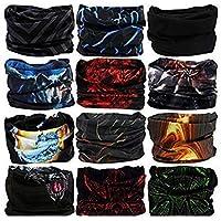 Generic Unisex Headwear Headband Head Wrap UV Resistence Sports Bandana Magic Scarf Face Mask (Free Size,Multicolour) Pack of 10