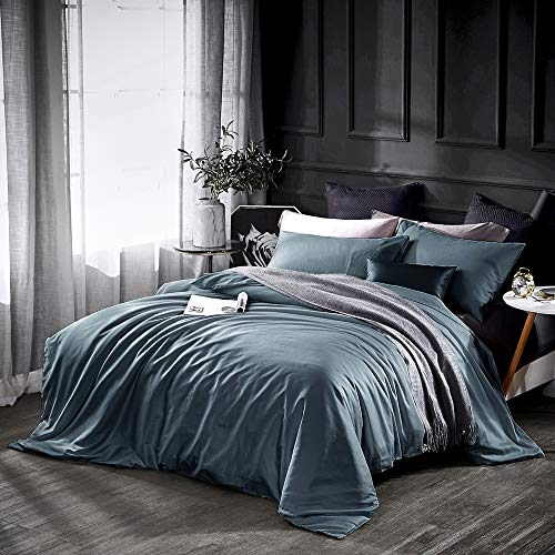 Dazzfond Duvet Cover King, Egyptian Cotton 3 Piece Luxury Bedding Set- Zipper Closure & Corner Ties, Solid Color Breathable Washable Comforter Protector (Ocean Teal),