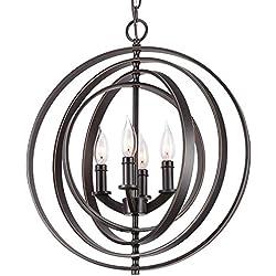 """Kira Home Orbits 18"""" 4-Light Modern Sphere/Orb Chandelier, Bronze Finish"""