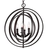Kira Home Orbits 18″ 4-Light Modern Sphere/Orb Chandelier, Bronze Finish For Sale
