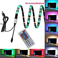 EAGWELL USB TV Backlight RGB - Medium - 78 inch LED TV Lights with Remote Bias Lighting for HDTV, Flat Screen TV Accessories and Desktop PC, Multi Color