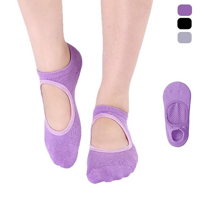 Yoga Socks Pilates Non-slip Socks Toe Covered Anti-Skid With Grips For Women US
