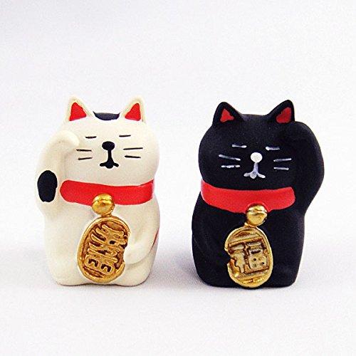 concombre うとうと招き猫2点セット(黒猫三毛猫) B00OC7KDG8