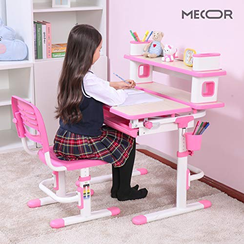 Mecor Kids Desk and Chair Set w/Bookshelf,Child Student School Desk Height Adjustable Children Sturdy Table Wood Grain Surface Tiltable Tabletop/Sliding Drawer Storage Pink