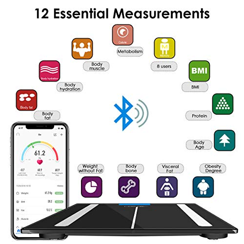 Bluetooth Body Fat Scale, LOFTER Smart Digital Weight Scale Wireless Bathroom Scale 12 Body Composition Analyzer with iOS & Android APP for Body Weight, Fat, Water, BMI, BMR, Muscle Mass, 396lbs Black by LOFTER (Image #1)