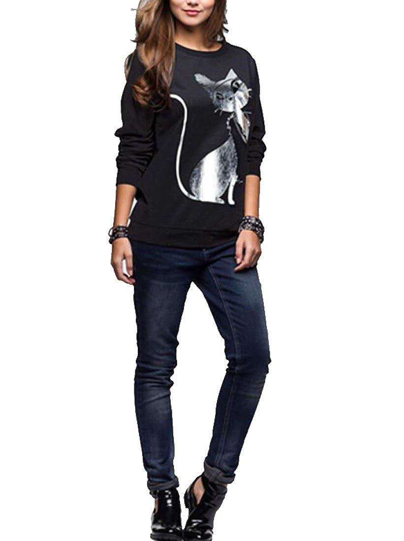 Womens Casual Shirt,Cat Printing Crewneck Fashion Pullover