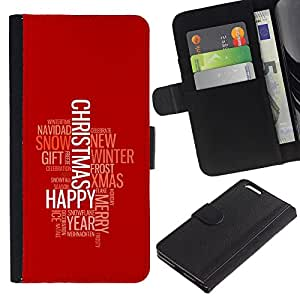 Stuss Case / Funda Carcasa PU de Cuero - FELIZ FELIZ NAVIDAD - Apple Iphone 6 PLUS 5.5