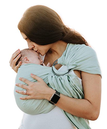 Luxury Ring Sling Baby Carrier – Extra Soft Bamboo & Linen Fabric, Free Carry Bag, for Newborns, Infants & Toddlers - Best Baby Shower Gift - Nursing Cover - from Pura Vida Slings (Light Sea Green)