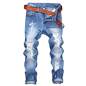 Men's Distressed Moto Biker Jeans Straight Slim Fit Denim Pants - Above Ankle Length