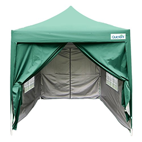 Quictent Upgraded privacy 6.6'x6.6' EZ Pop Up Canopy Tent Gazebo Photo Booth Tent Waterproof with 4 Sidewalls and Wheeled Bag, Pyramid Roof 9.2ft Height -3 Colors (Green-Church Window)