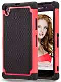 Sony Xperia Z1 Case, GOOQ Solid Shockproof Silicone + Hard Case Cover Stylish Design Dual layer Protection Defender Anti-scratch Anti-slip Hard Slim Case Cover for Sony Xperia Z1(Black/Red)