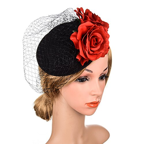 Urberry Fascinator Hats with Veil Headband Party Headwear for Girls and Women -