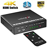 USBNOVEL HDMI Switch,3 Port HDMI Switcher Box with IR Remote 4K,Support 1080P and 3D