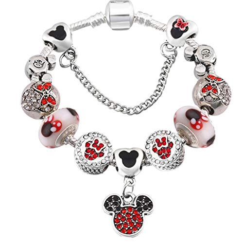 Present for Girlfriend Silver Plated Mickey Western Charm Bracelets; Bangles Dark Color Crystal Brand Anklet Bracelets for Child Gift Jewellery Decoration