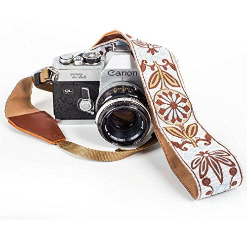 White Woven Vintage Camera Strap Belt For All DSLR Camera – Elegant Universal DSLR Strap, Floral Pattern Neck Shoulder Camera Belt for Canon, Nikon, Sony, Fujifilm, and Digital Camera
