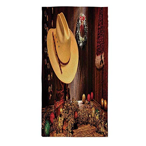 Western Decor Waterproof Tablecloth,Farmhouse with Christmas Decorations with Wreath Americana Style Image Print for Dining Table Tea Table Desk Secretaire,24''W X 48''L