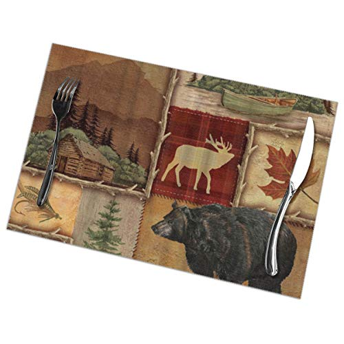 Rustic Lodge Bear Moose Placemats Plate Mats for Dining Table Set of 6
