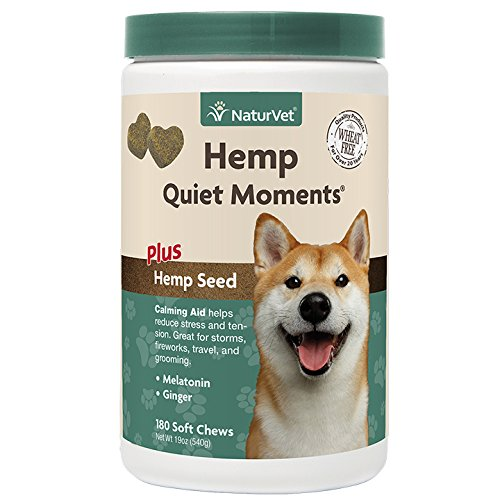 NaturVet Quiet Moments Calming Aid Soft Chew Supplement for Dogs, Reduce Stress and Anxiety with This Veterinarian Formulated Ca