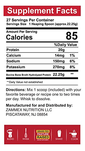 Hydrolyzed Bone Broth Protein Powder - Grass Fed, Pasture Raised | Non-GMO, Paleo Friendly, Gluten Free | Best Value-601 Grams-Great for Weight Management, Digestive System, Healthy Hair & Skin