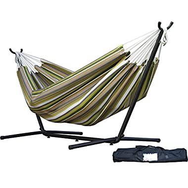 Vivere Double Sunbrella Hammock with Space-Saving Steel Stand, Limelight