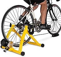 GSTARKL Entrenamiento Bicicleta Rodillo, Bicicleta Fija Soporte estacionario para Montar en el Interior, Portátil, Pincho de liberación rápida y Bloque Elevador de la Rueda Delantera Incluido,Yellow: Amazon.es: Deportes y aire libre