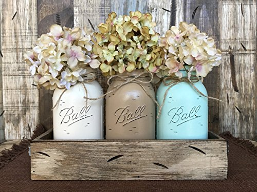 Lodge Pine Coffee Table (Mason Canning Jars in Antique White Red or Blue Wood Tray for Kitchen Table Centerpiece with 3 Painted Ball QUART Jar Distressed -CREAM, COFFEE, SEAFOAM (pictured) -Flowers (optional) *GORGEOUS*)