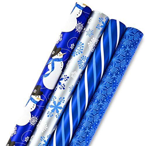 Image Arts Holiday Wrapping Paper Bundle with Cut Lines on Reverse, Blue (Pack of 4, 180 sq. ft. -