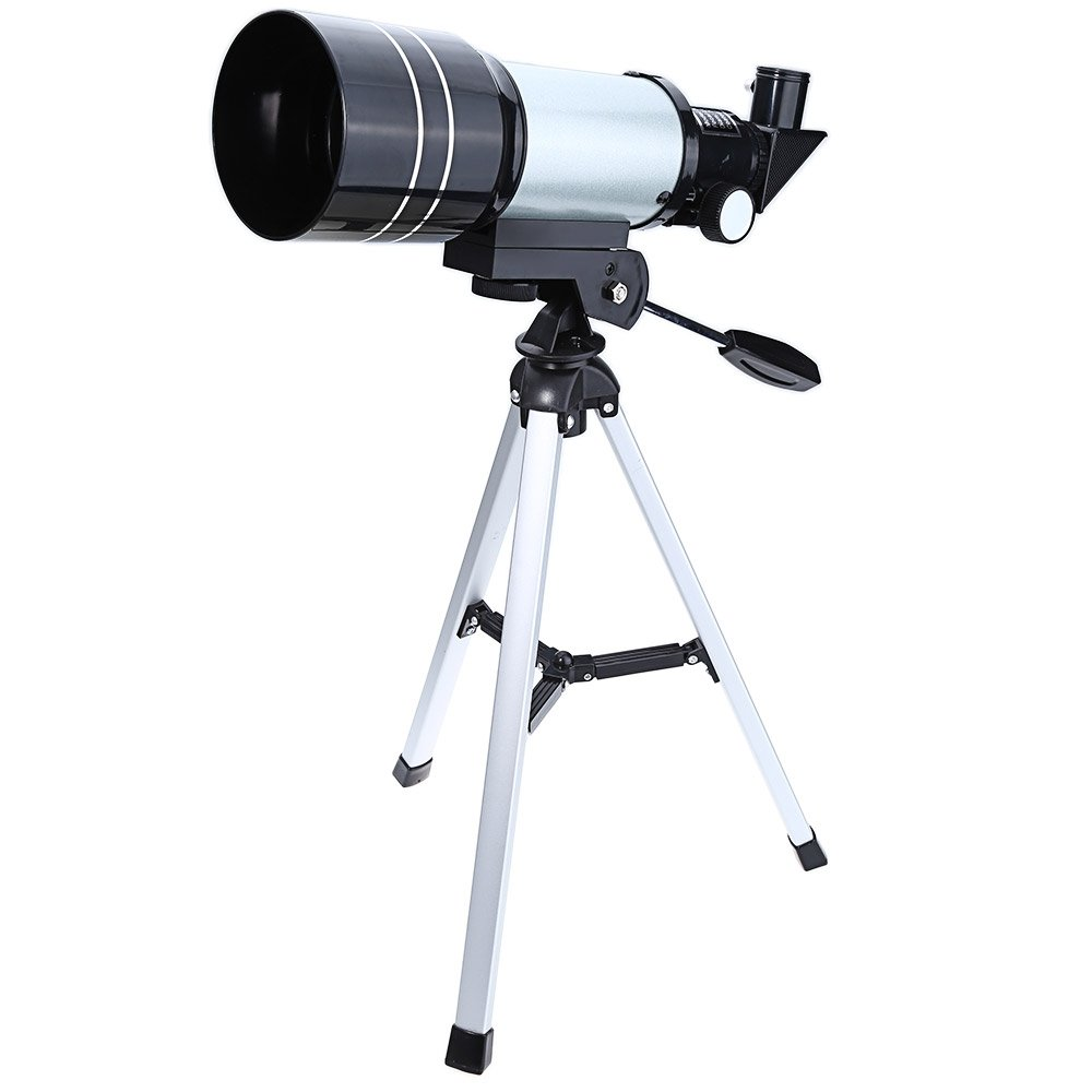 EISHOW Outdoor 70mm (2.4 inch) Professional Space Astronomic Telescope with Aluminum Tripod, Portable Telescope for Kids, Adults Sky Star Gazing, Birds Watching, Astronomy Beginners (Silver)