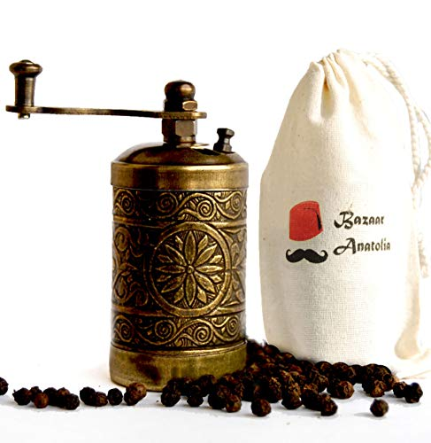 Turkish Pepper Mill - Turkish Handmade Grinder, Spice Grinder, Pepper Grinder, Pepper Mill 3.0'' (Antique Gold)