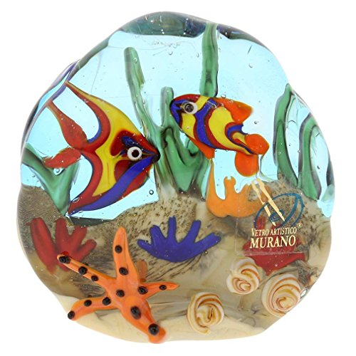 - GlassOfVenice Murano Glass Sea Floor Aquarium Paperweight Sculpture