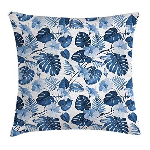 shion Cover by Ambesonne, Palm and Mango Tree Branch and Hawaiian Hibiscus Flower Image, Decorative Square Accent Pillow Case, 16 X 16 Inches, Light Blue Turquoise and Dark Blue ()