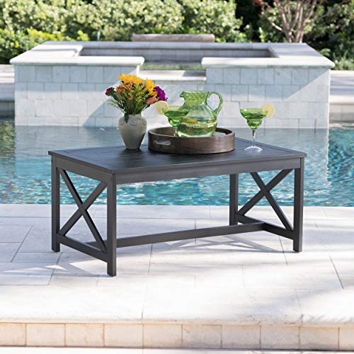 Ismus Outdoor Black Finished Acacia Wood Coffee Table