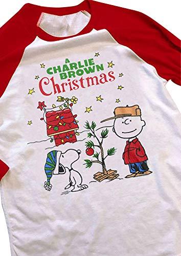 (A Charlie Brown Christmas Baseball T-Shirts Women's Casual Long Raglan Sleeve Baseball Tees Cute Printed Round Neck Tops (XX-Large,)