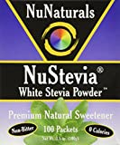 NuNaturals NuStevia White Stevia Powder, Calorie-Free Natural Sweetener Packets, 100-Count