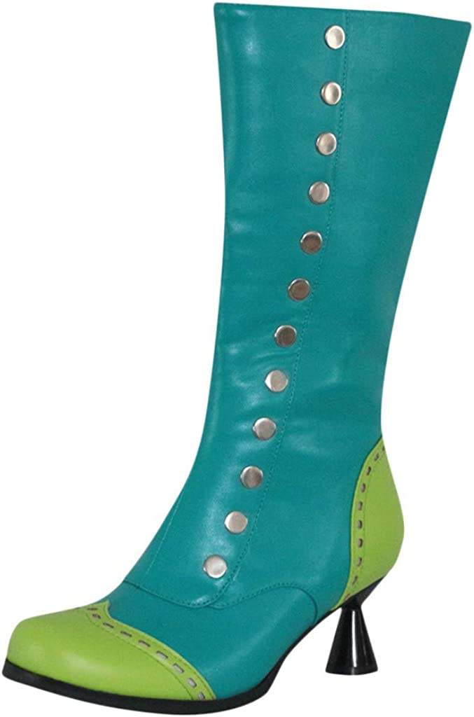 Kauneus Womens Round Toe Mid Heel Mid Calf Spliced Color Boots Zipper Studded Wedge Leather Vintage Knee High Boot